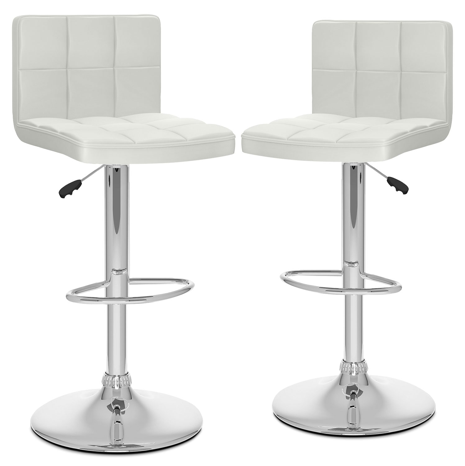 Dining Room Furniture - CorLiving High-Back Adjustable Bar Stool, Set of 2 – White