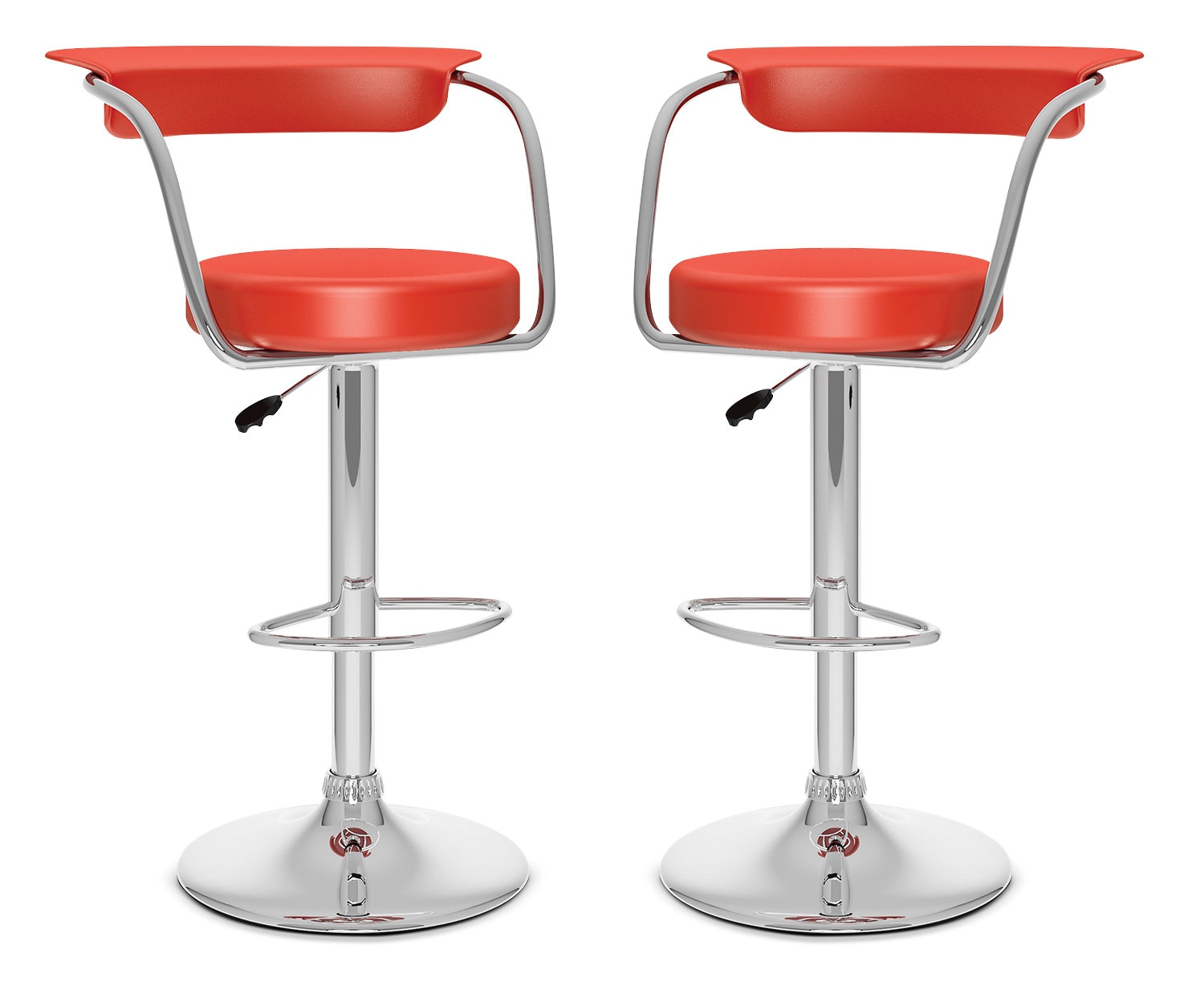 CorLiving Open-Back Adjustable Bar Stool, Set of 2 – Red