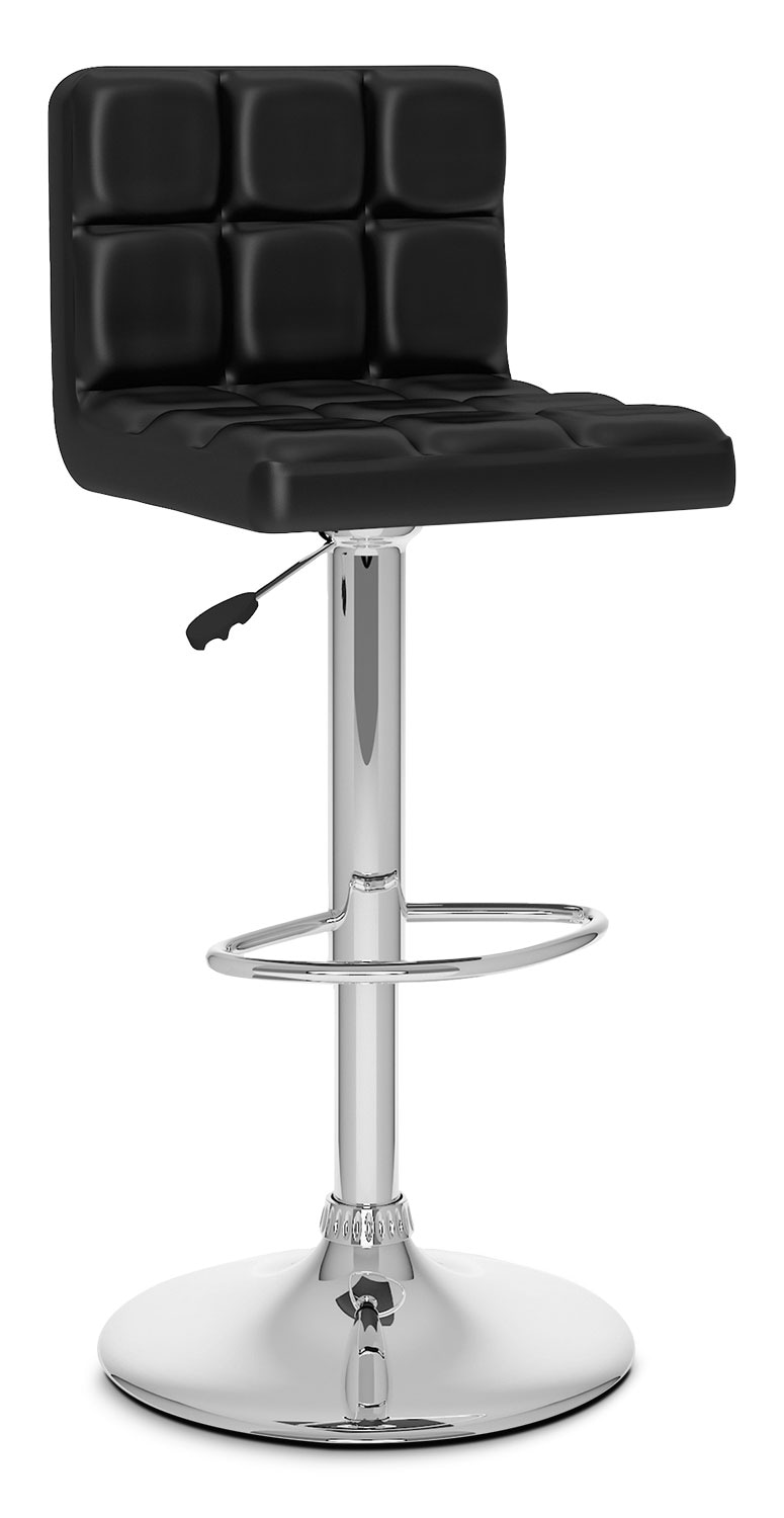 Dining Room Furniture - CorLiving High Back Adjustable Bar Stool - Black