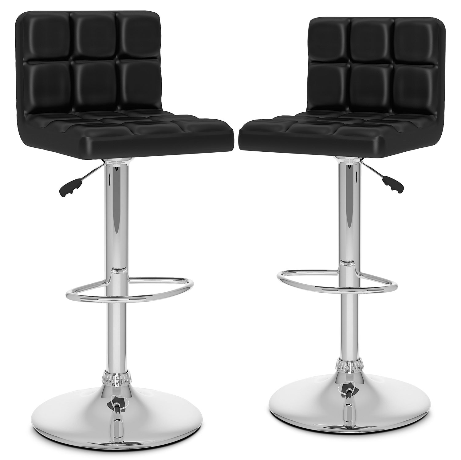 Dining Room Furniture - CorLiving High-Back Adjustable Bar Stool, Set of 2 – Black