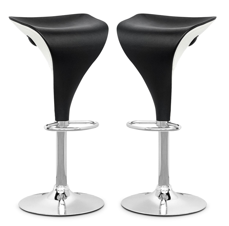 Dining Room Furniture - Adjustable Two-Toned Bar Stool, Set of 2 – Black