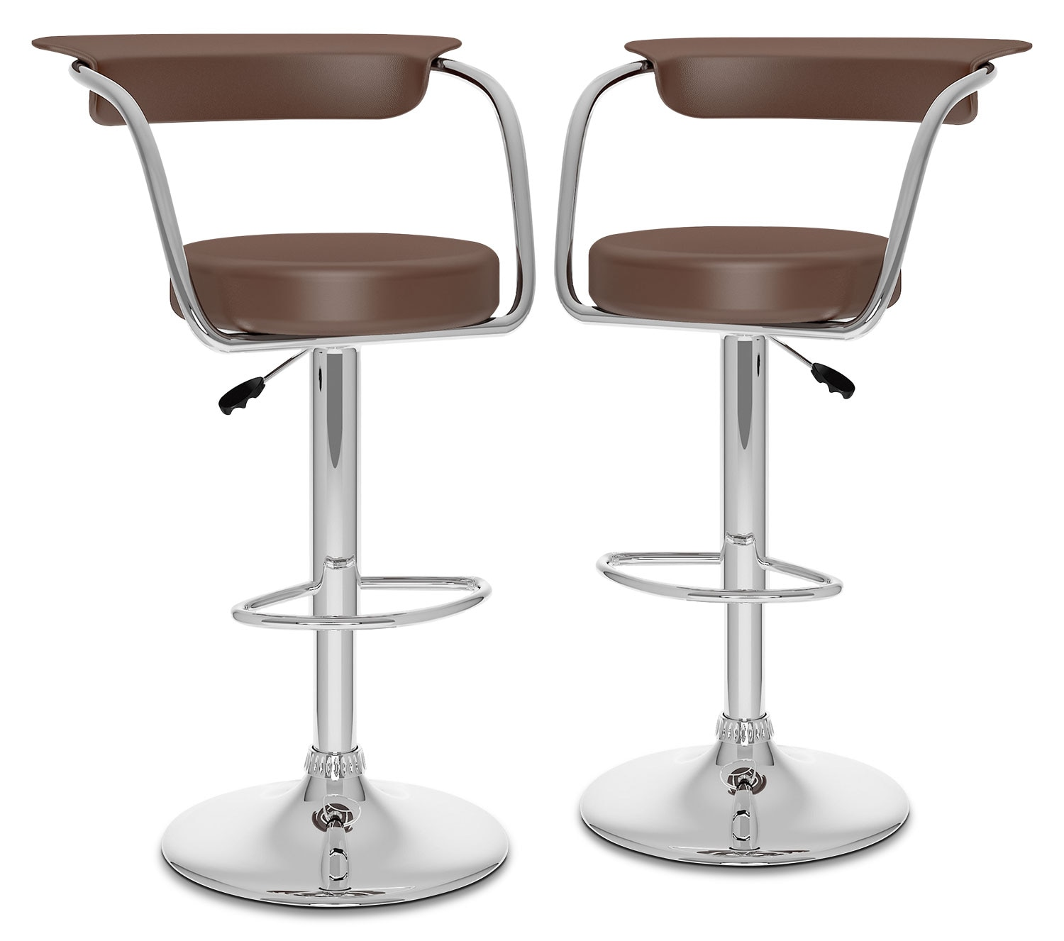 Dining Room Furniture - CorLiving Open-Back Adjustable Bar Stool, Set of 2 – Brown