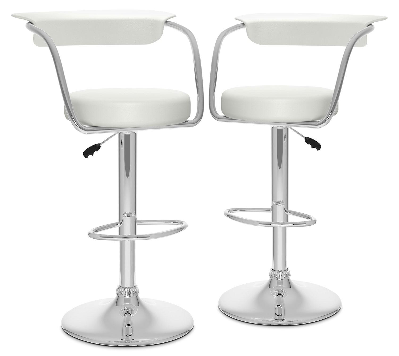 Dining Room Furniture - CorLiving Open-Back Adjustable Bar Stool, Set of 2 – White
