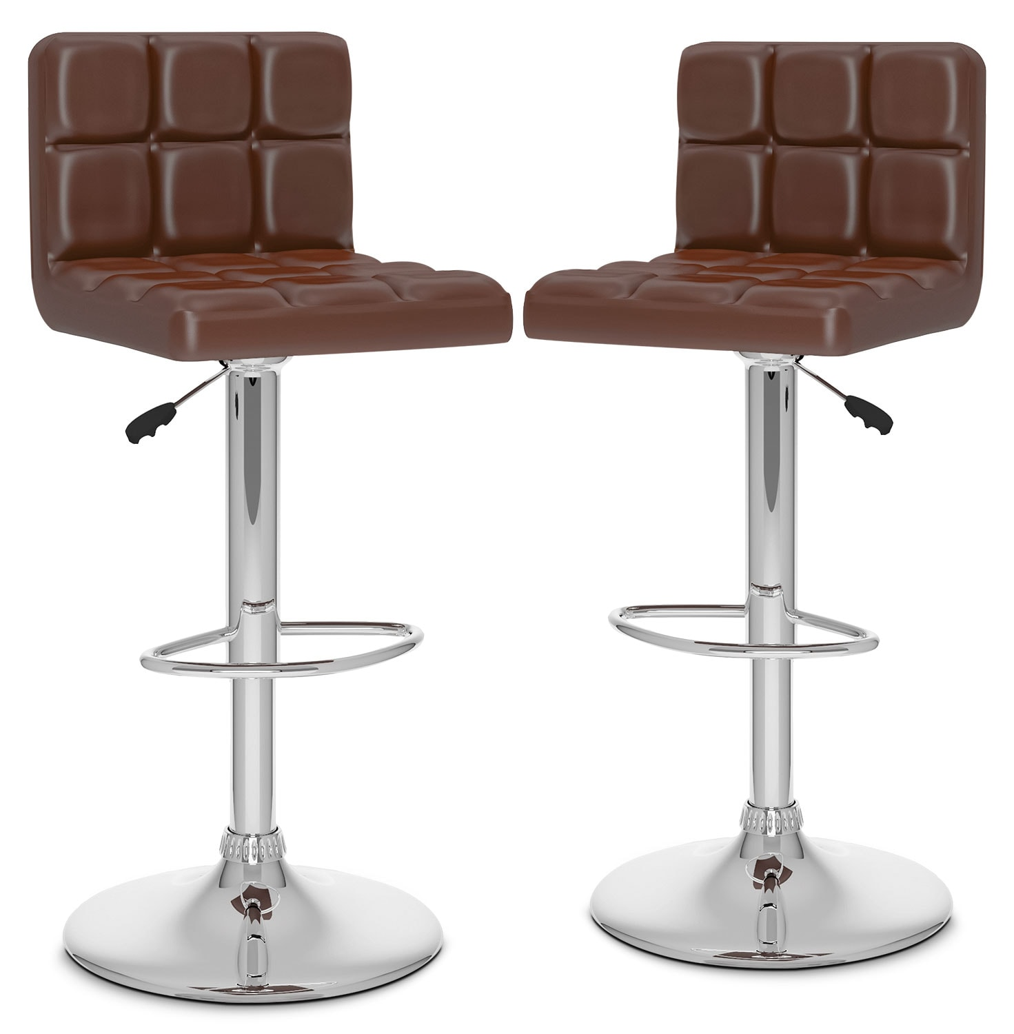 Dining Room Furniture - CorLiving High-Back Adjustable Bar Stool, Set of 2 – Brown