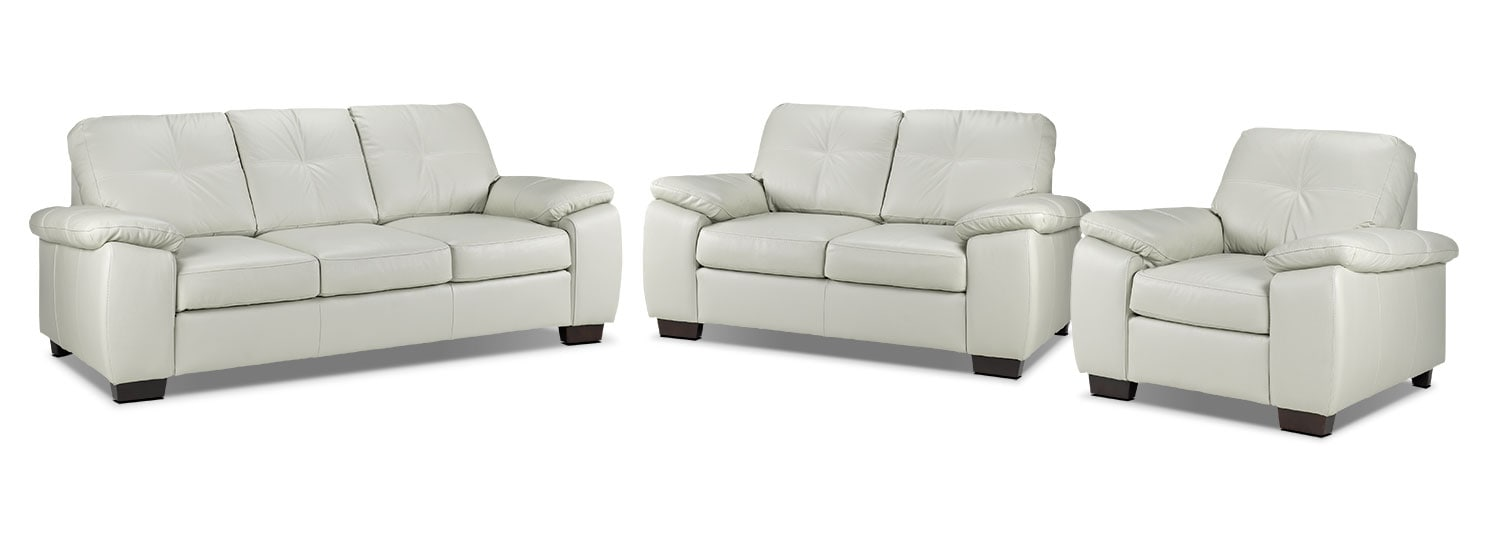 Naples Sofa, Loveseat and Chair Set - Smoke