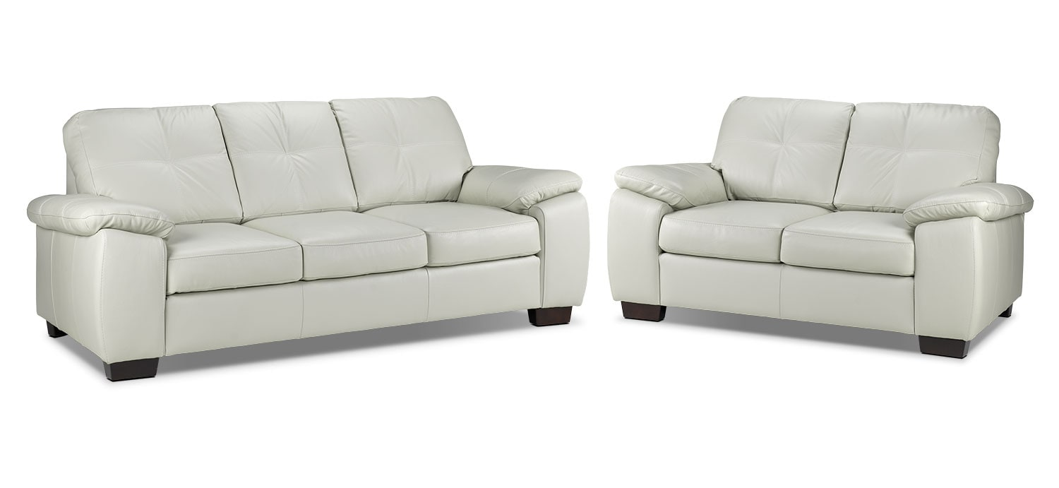 Naples Sofa and Loveseat Set - Smoke