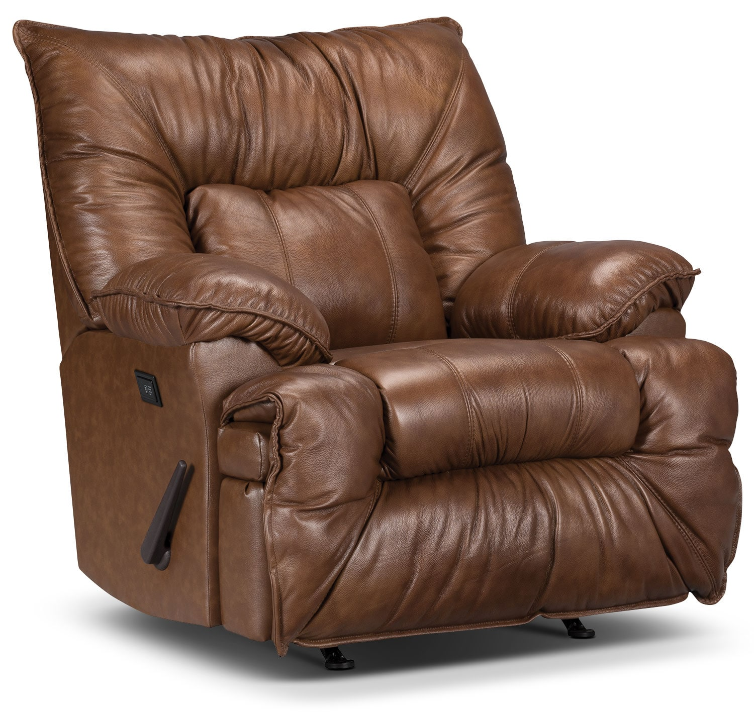 Living Room Furniture - Designed2B Recliner 7726 Genuine Leather Massage Chair - Saddle
