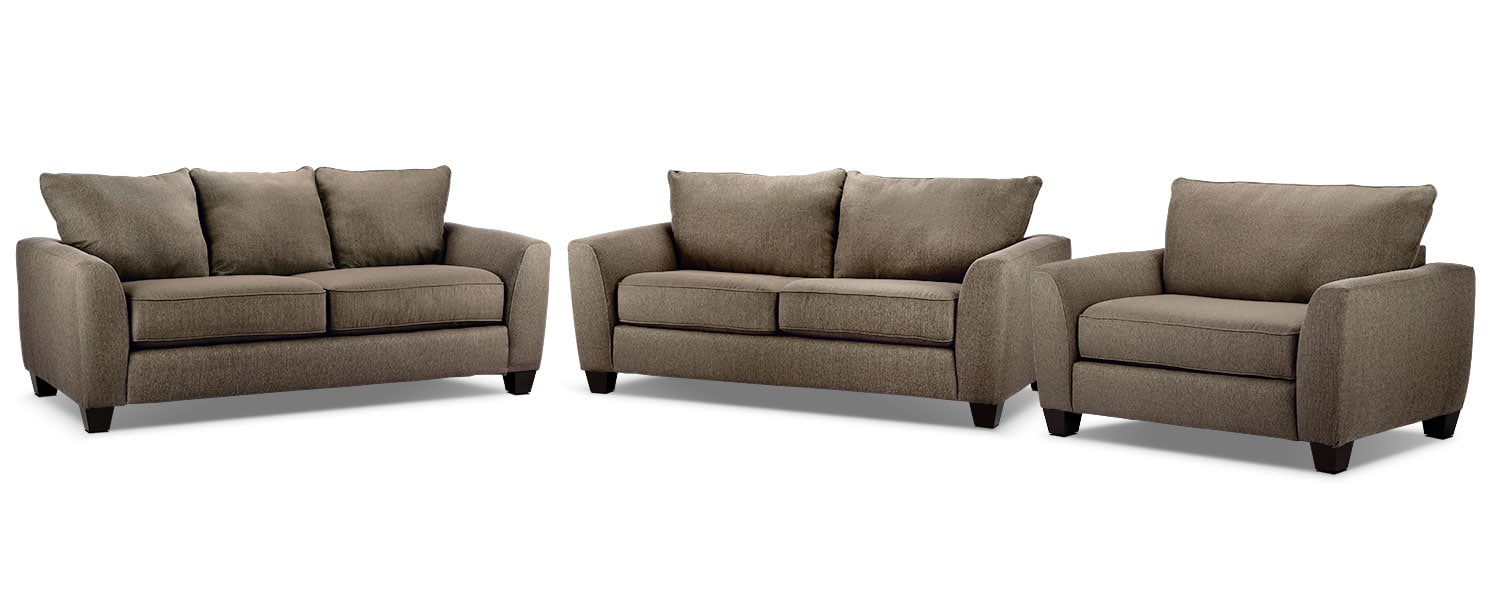 Heritage Sofa, Loveseat and Chair and a Half Set - Nutmeg