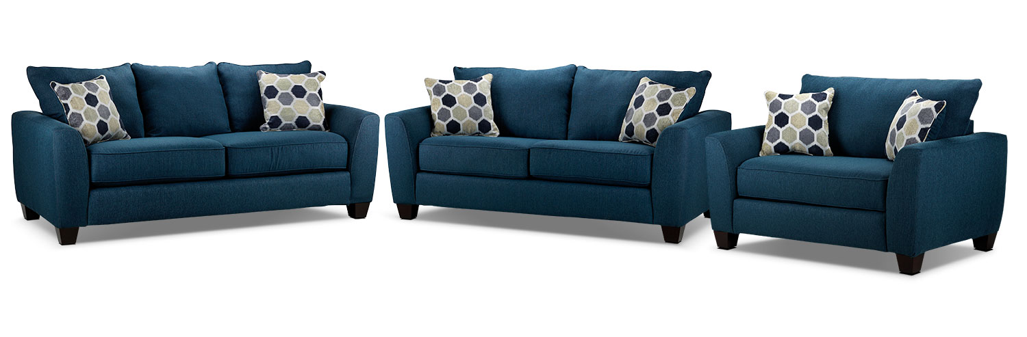 Heritage Sofa, Loveseat and Chair and a Half Set - Navy