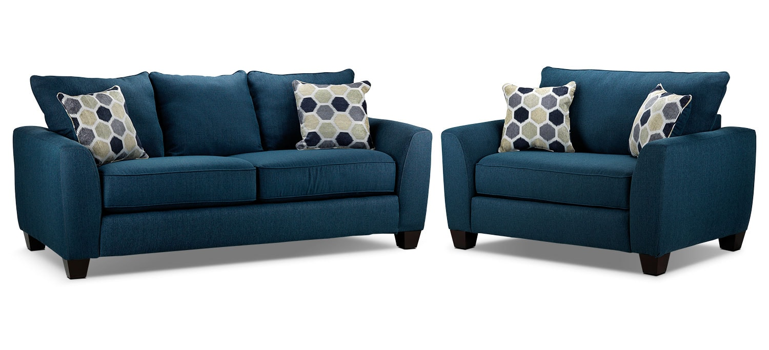 Heritage Sofa and Chair and a Half Set - Navy