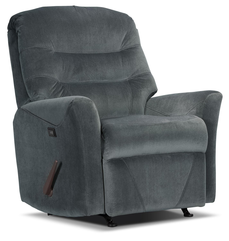 Living Room Furniture - Designed2B Recliner 4560 Microsuede Massage Recliner - Graphite