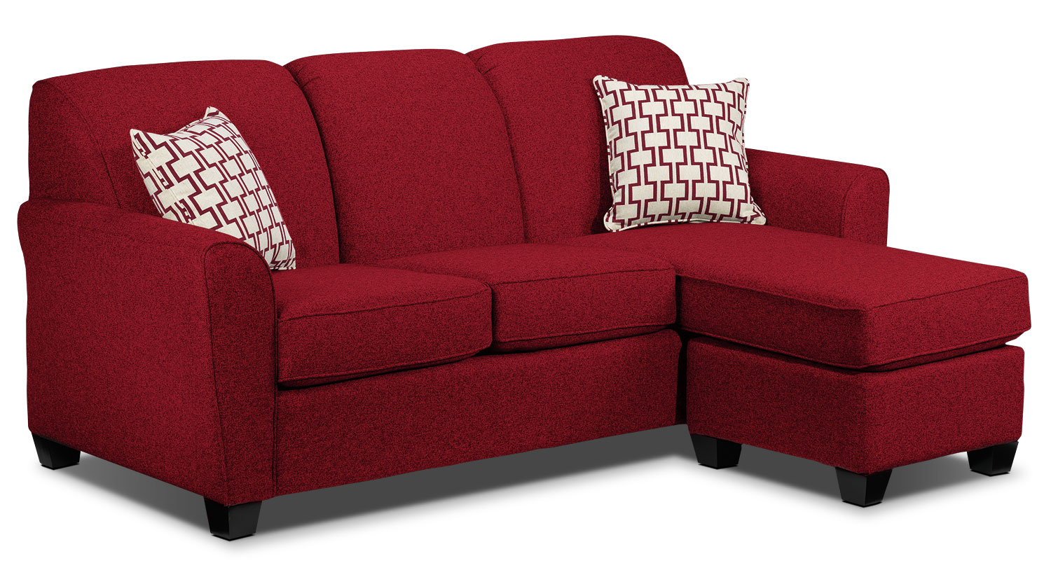 Living Room Furniture - Ashby Chaise Sofa - Red