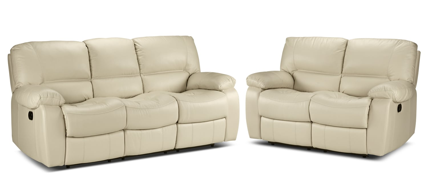 Piermont Reclining Sofa and Reclining Loveseat Set - Bisque