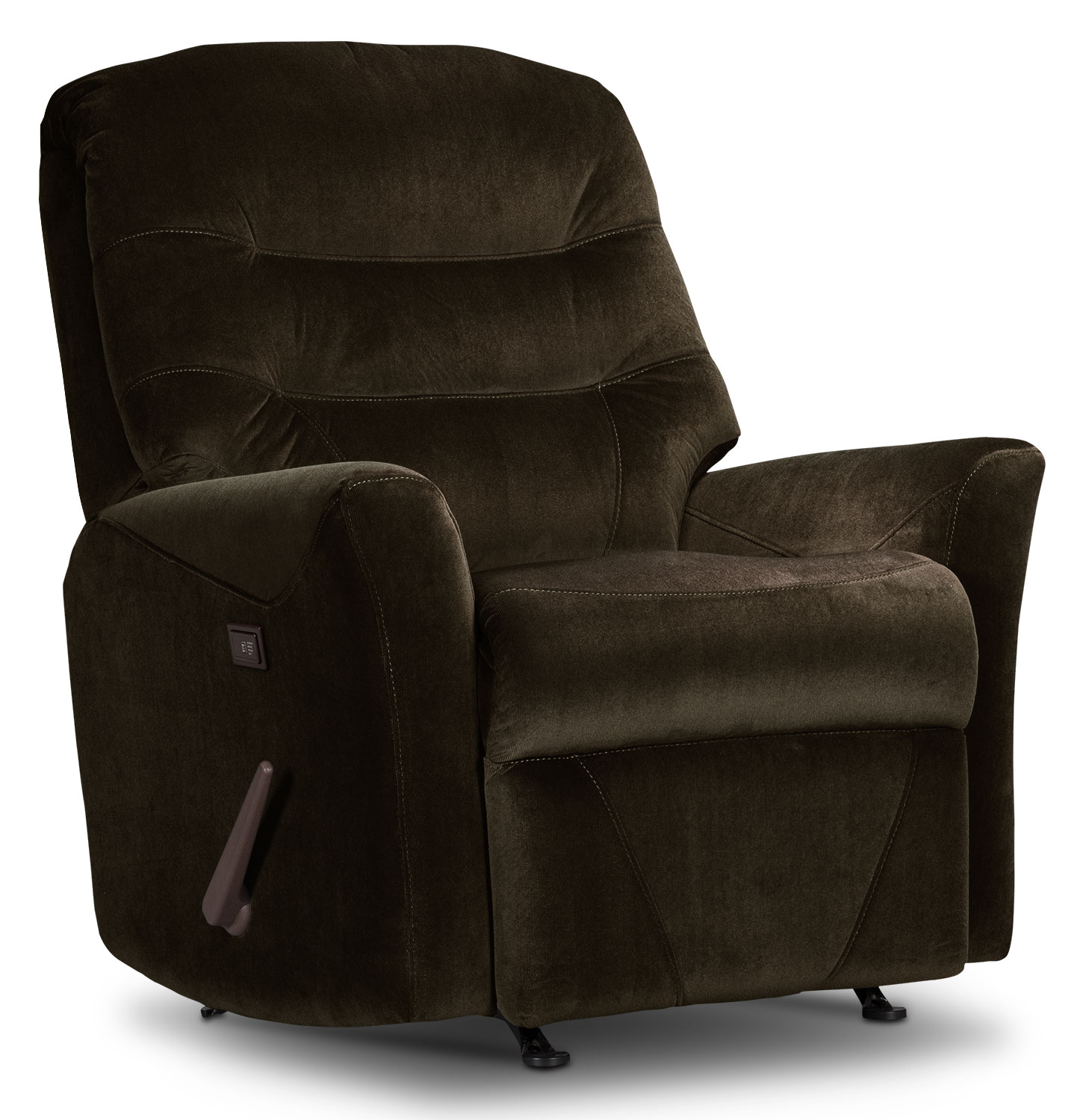 Living Room Furniture - Designed2B Recliner 4560 Microsuede Massage Recliner - Chocolate
