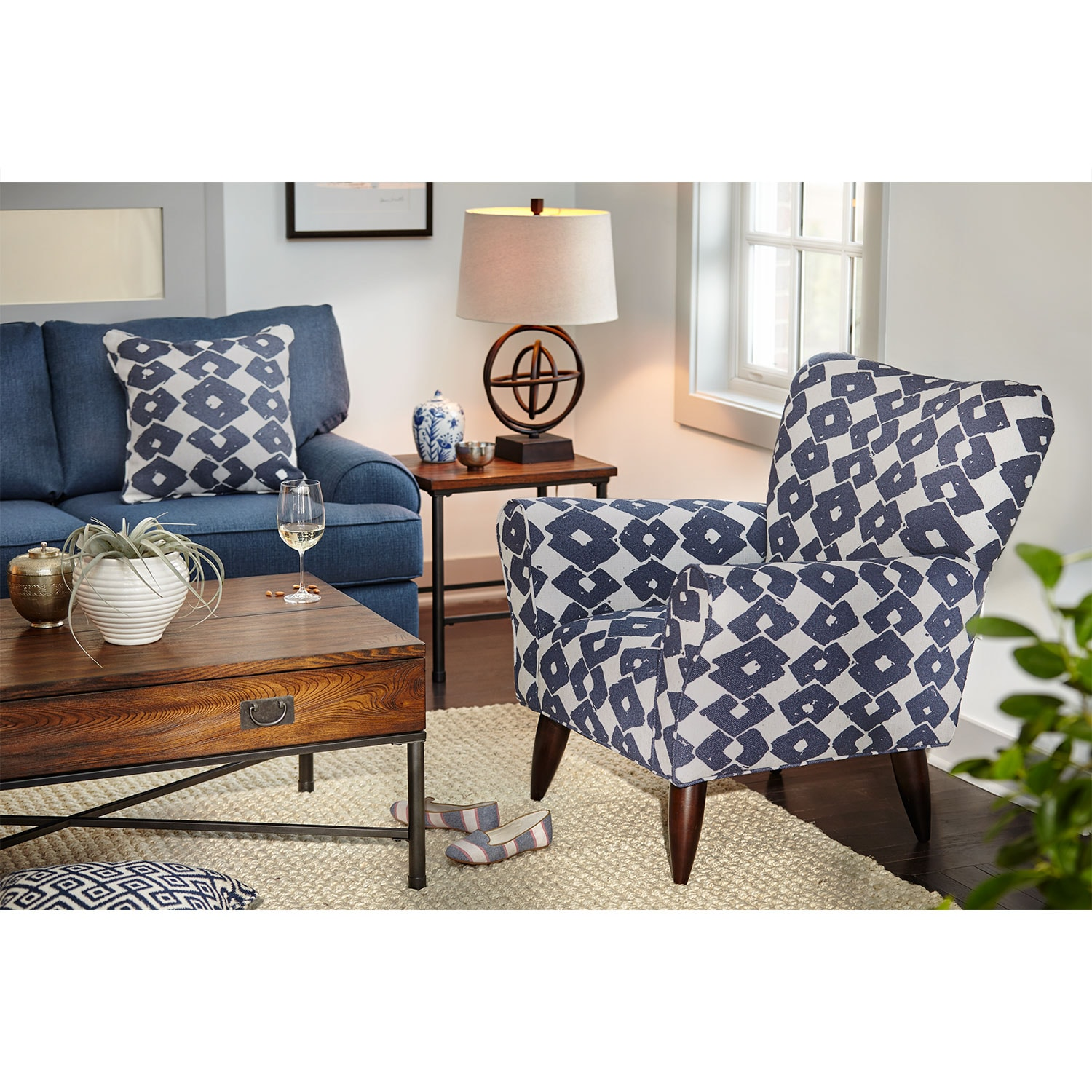 Jessie Accent Chair Blue Value City Furniture