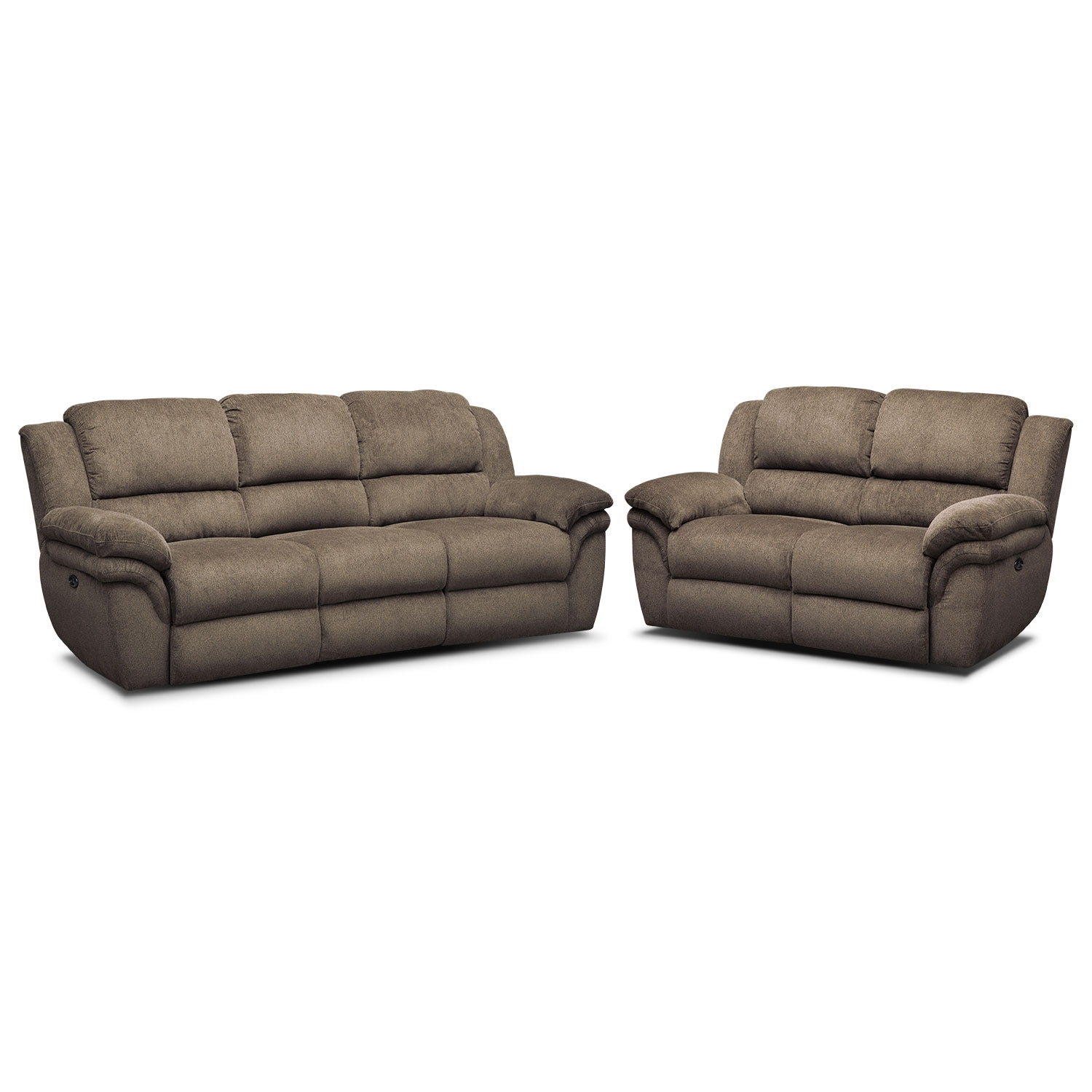 Aldo Power Reclining Sofa And Loveseat Set Mocha Value