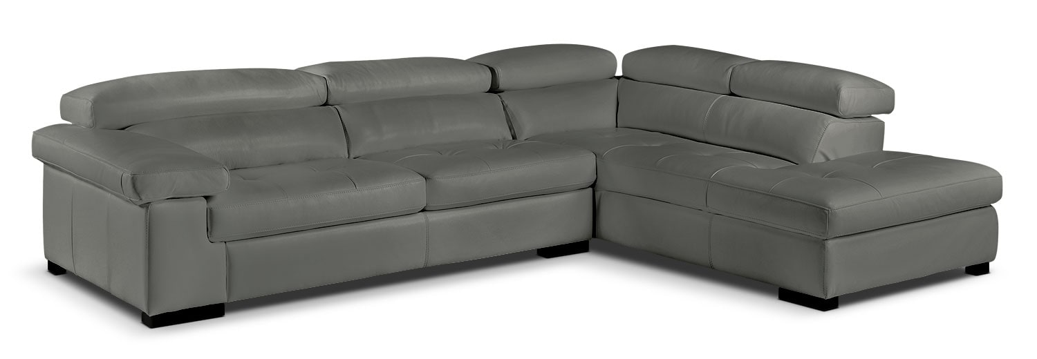 Living Room Furniture - Underwood 2-Piece Right-Facing Sectional - Charcoal