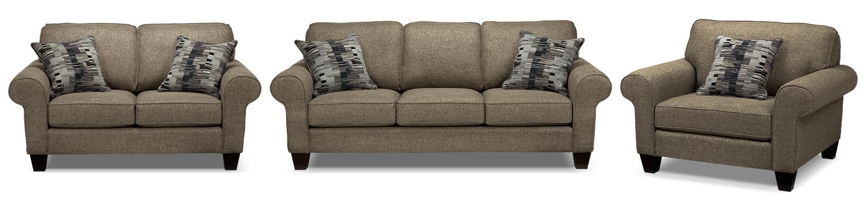 Drake Sofa, Loveseat and Chair Set - Mercury