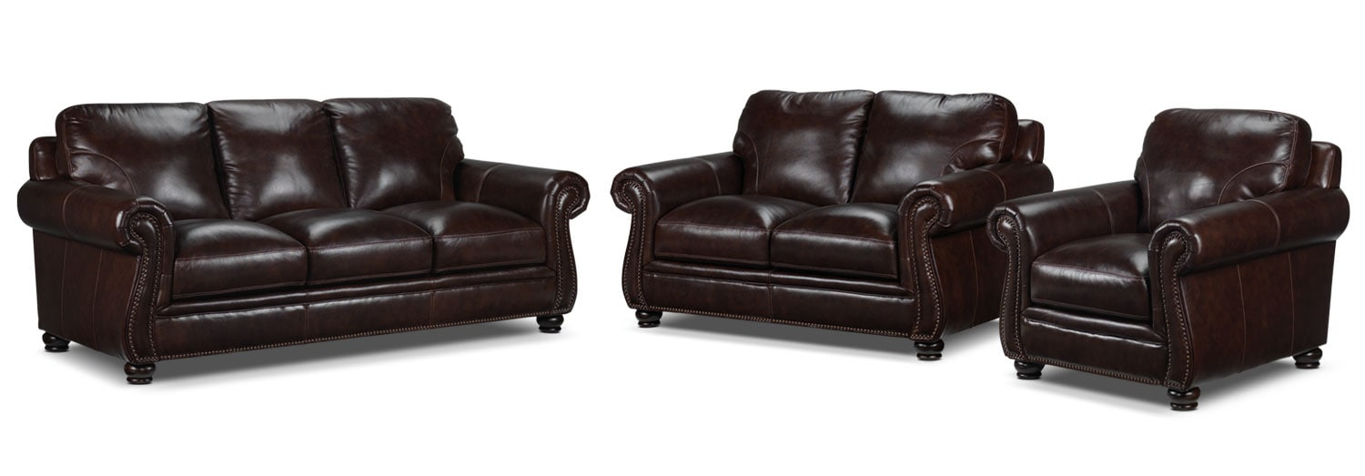 Rafferty Sofa, Loveseat and Chair Set - Walnut