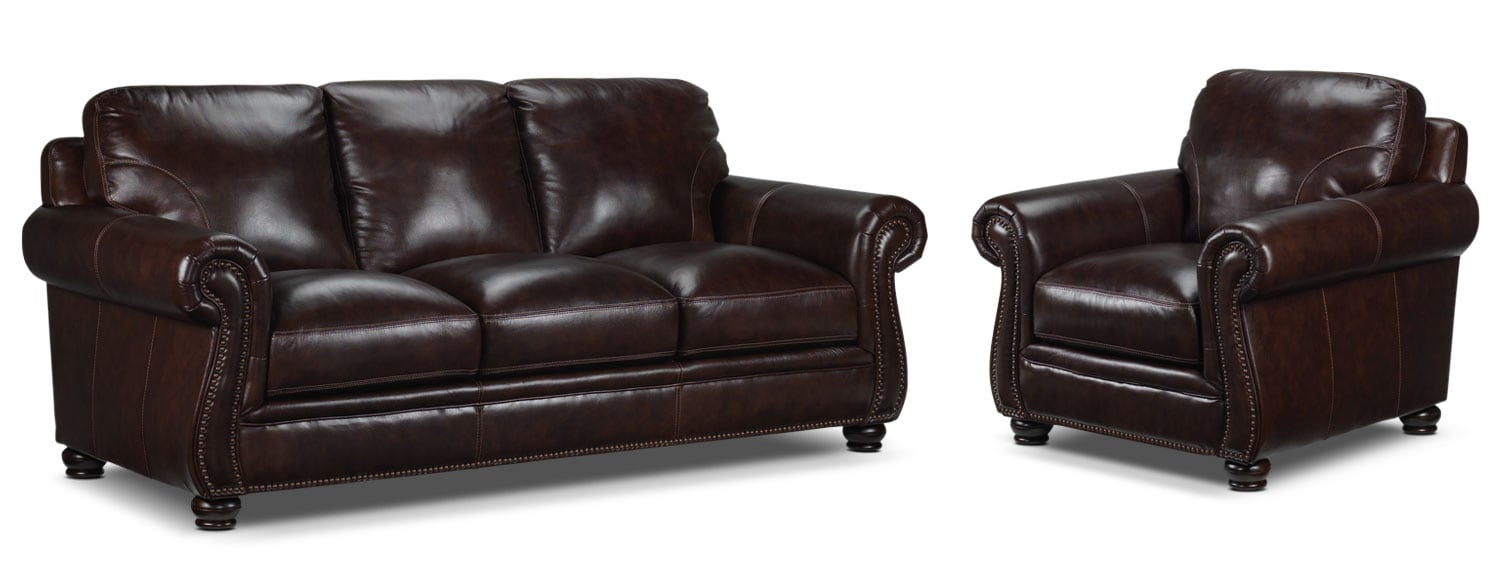 Rafferty Sofa and Chair Set - Walnut