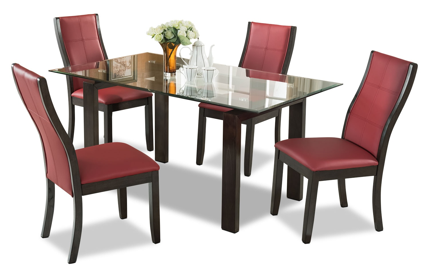 Dining Room Furniture - Tyler 5-Piece Dining Package – Red