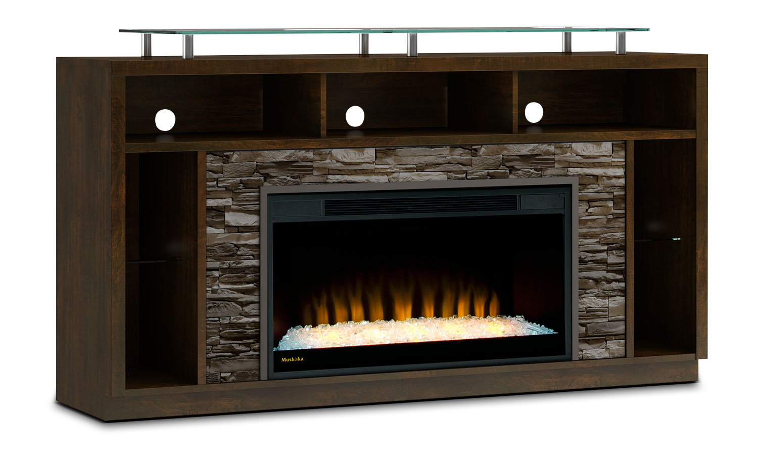 "Arlington 71"" TV Stand with Glass Ember Firebox – Bordeaux"