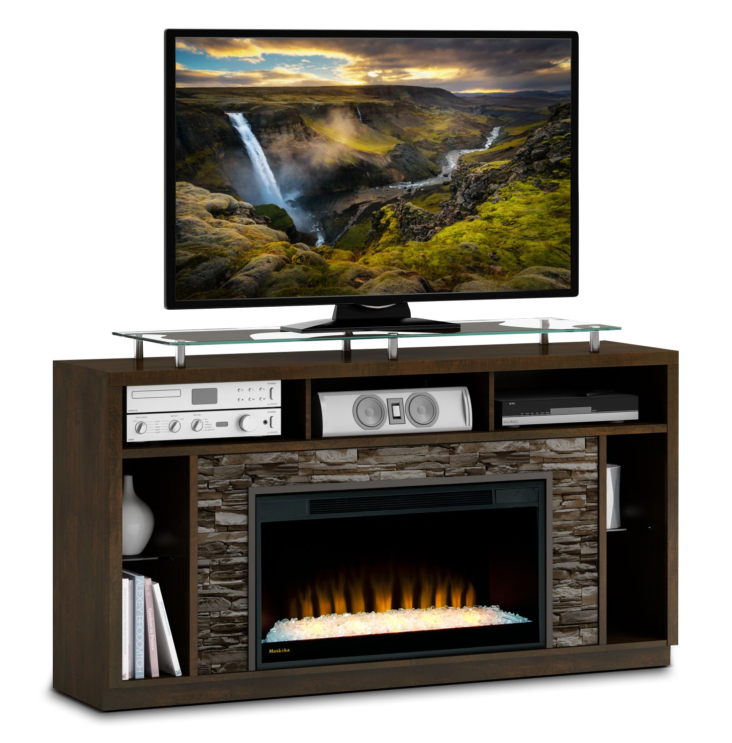 Arlington 71 Tv Stand With Glass Ember Firebox Bordeaux The Brick