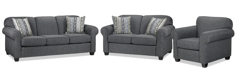 Aristotle Sofa, Loveseat and Chair Set - Grey
