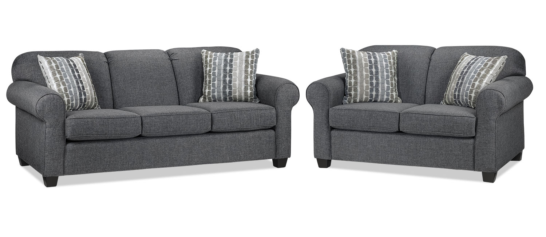 Aristotle Sofa and Loveseat Set - Grey
