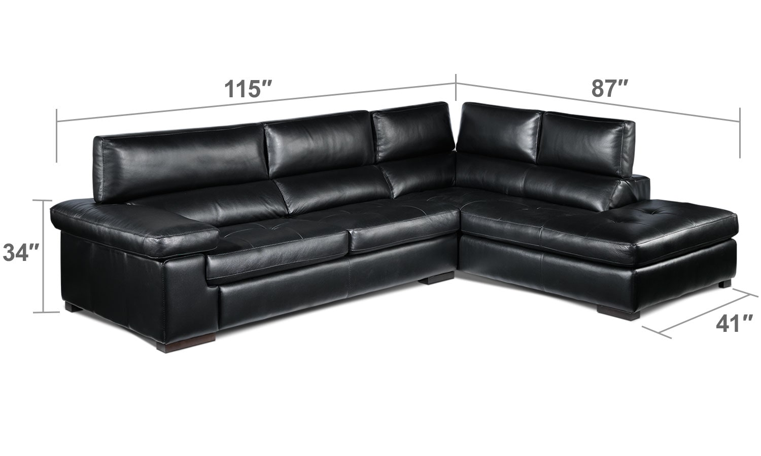 Living Room Furniture - Underwood 2-Piece Right-Facing Sectional - Black