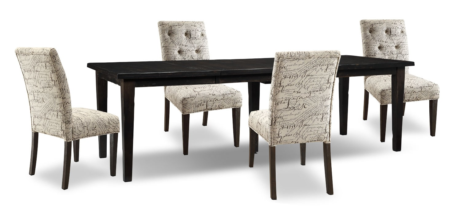 Dining Room Furniture - Bordeaux 5-Piece Dining Package with Script Chairs, Double-Leaf Table – Grey