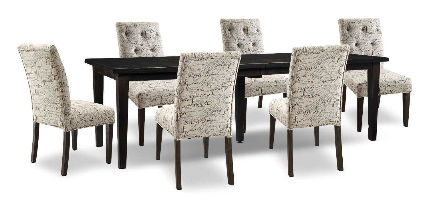 Bordeaux 7-Piece Dining Package with Script Chairs, Double-Leaf Table – Grey