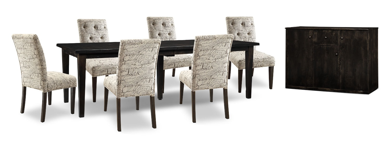 Bordeaux 8-Piece Dining Package with Script Chairs, Double-Leaf Table – Grey