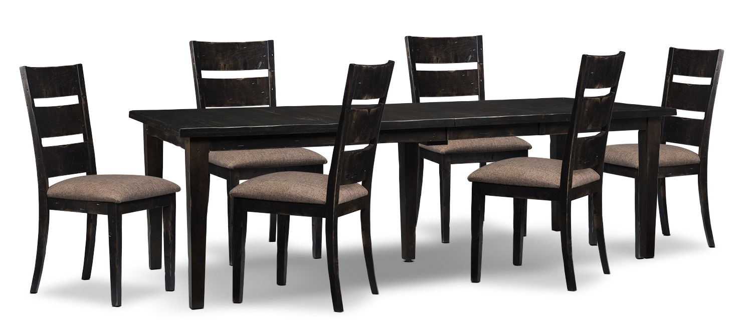 Bordeaux 7-Piece Dining Package with Double-Leaf Table – Grey