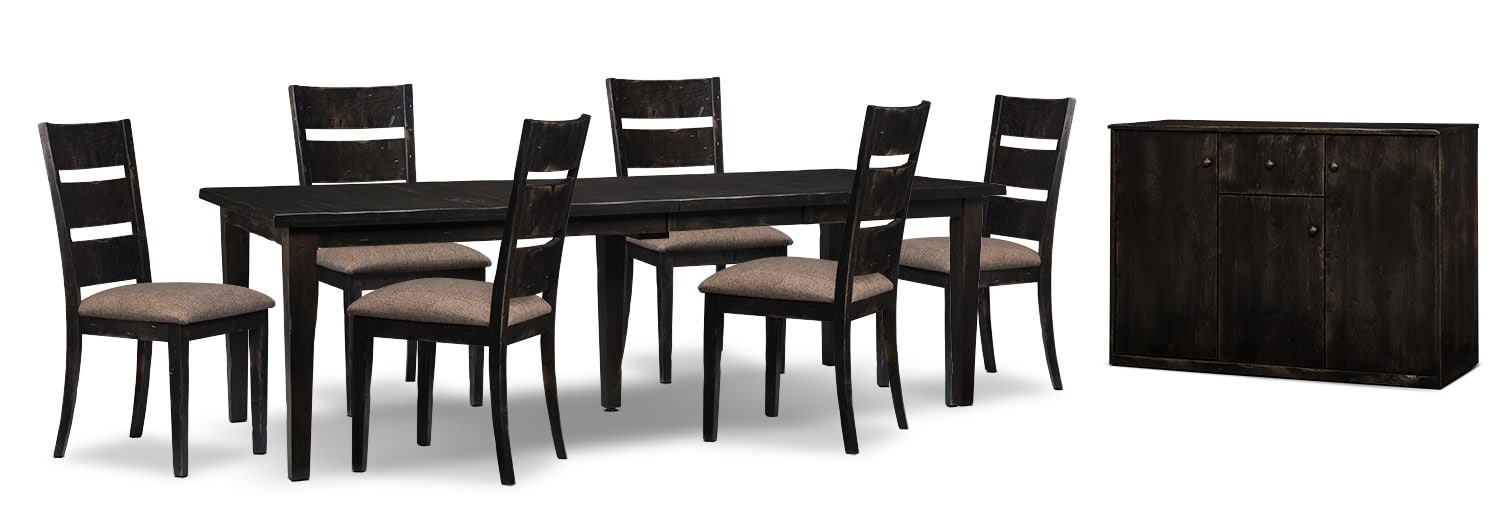 Dining Room Furniture - Bordeaux 8-Piece Dining Package with Double-Leaf Table – Grey