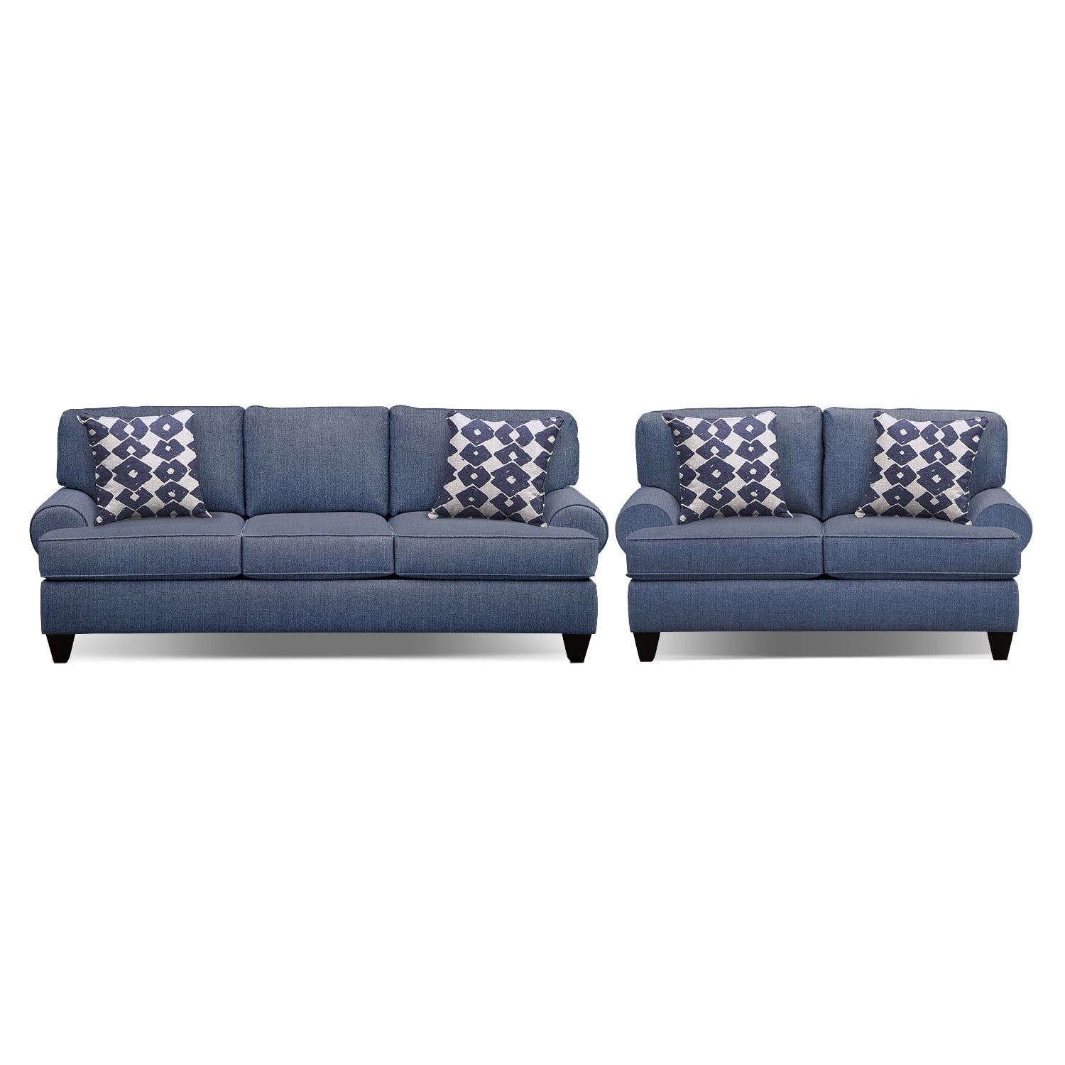 Bailey Blue 91 Innerspring Sleeper Sofa And 67 Sofa Set Value City Furniture