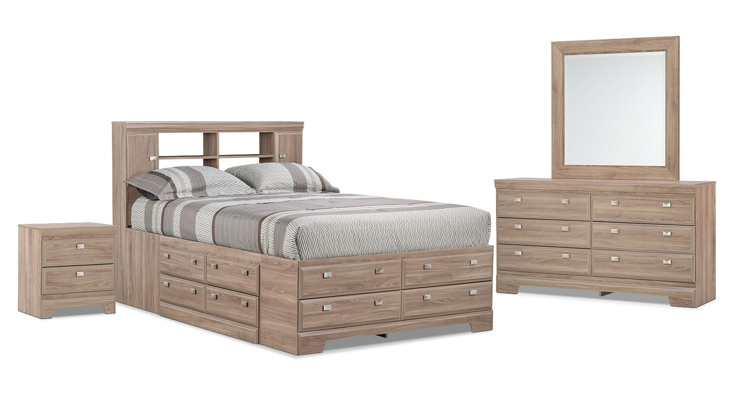 Bedroom Furniture - Yorkdale Light 6-Piece Full Bookcase Storage Bedroom Package