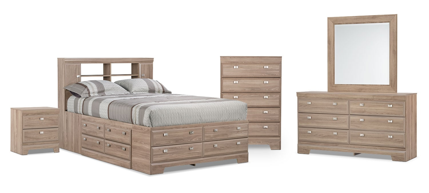 Bedroom Furniture - Yorkdale Light 8-Piece Queen Bookcase Storage Bedroom Package