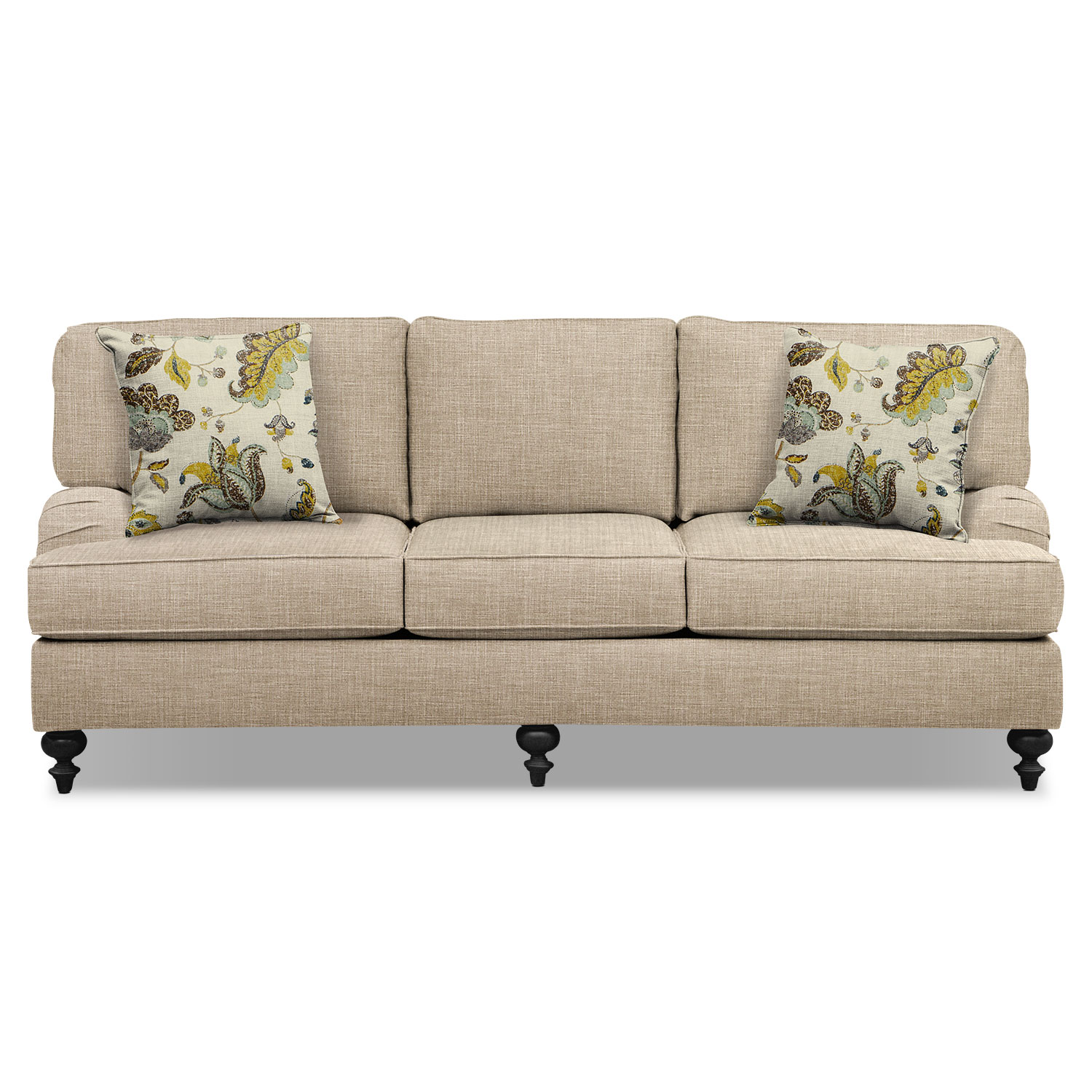 Avery taupe 86quot sofa and 62quot sofa set value city furniture for 86 sectional sofa