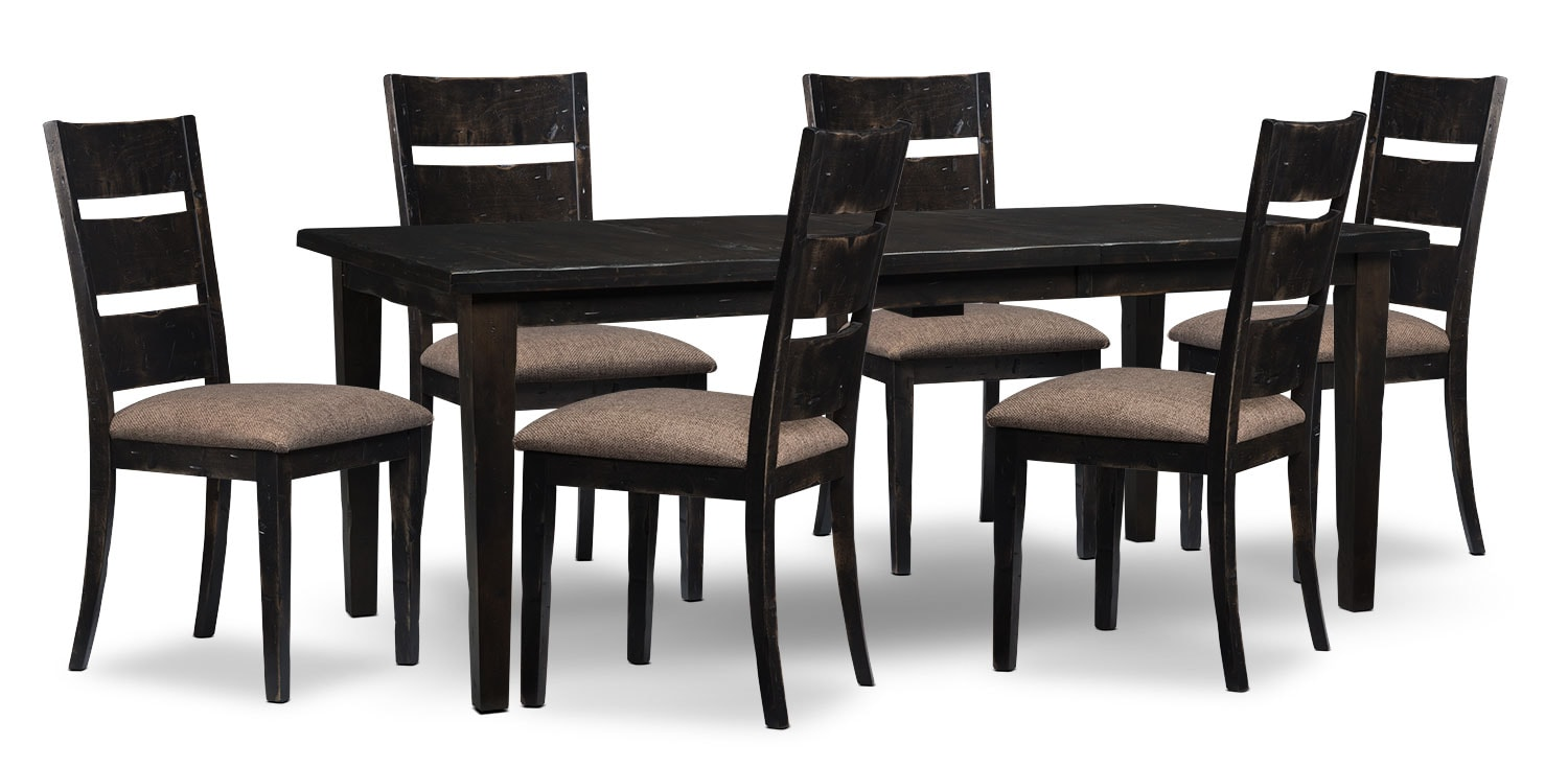 Dining Room Furniture - Bordeaux 7-Piece Dining Package with Single-Leaf Table – Grey