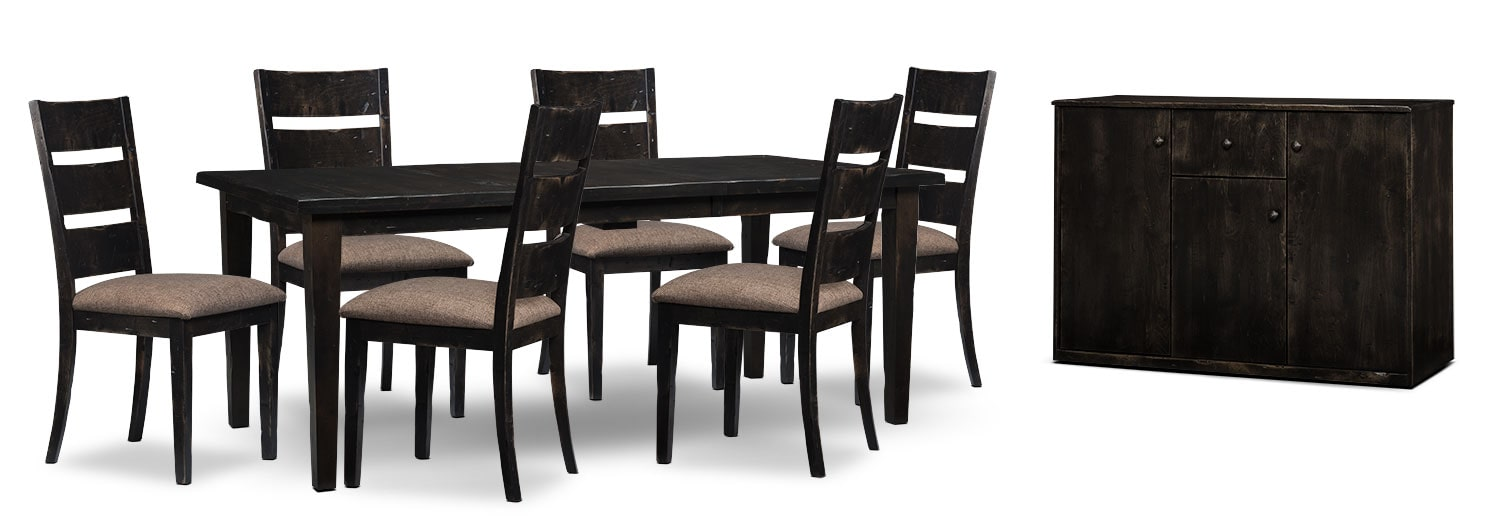 Dining Room Furniture - Bordeaux 8-Piece Dining Package with Single-Leaf Table – Grey