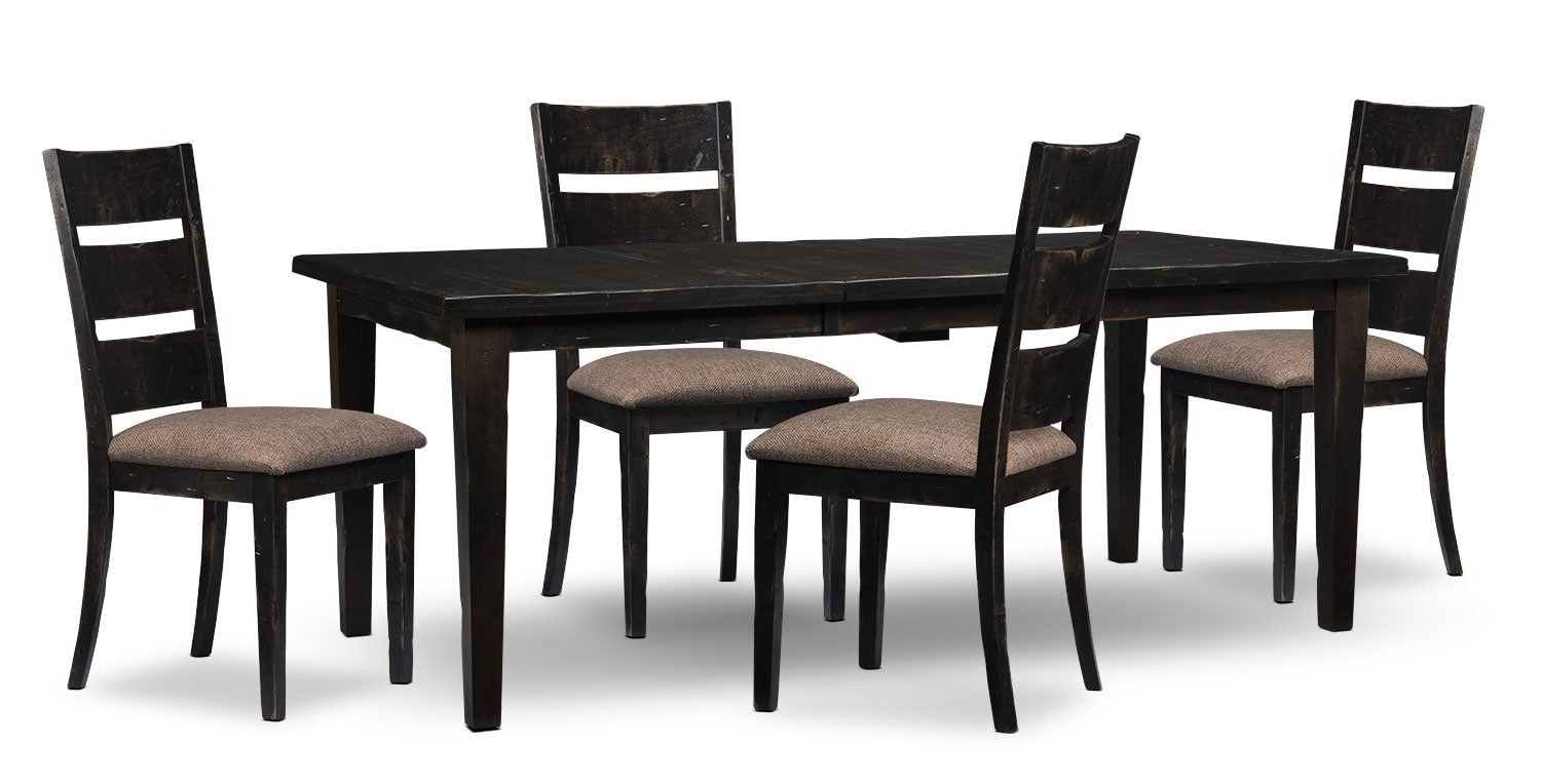 Bordeaux 5-Piece Dining Package with Single-Leaf Table – Grey