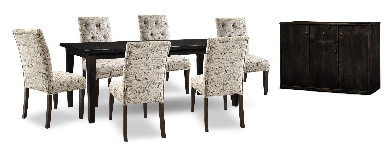 Bordeaux 8-Piece Dining Package with Script Chairs, Single-Leaf Table – Grey