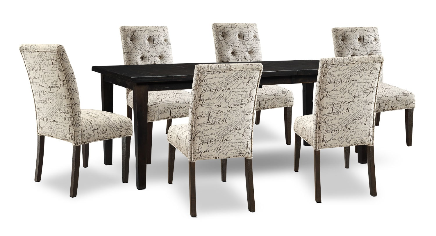 Dining Room Furniture - Bordeaux 7-Piece Dining Package with Script Chairs, Single-Leaf Table – Grey