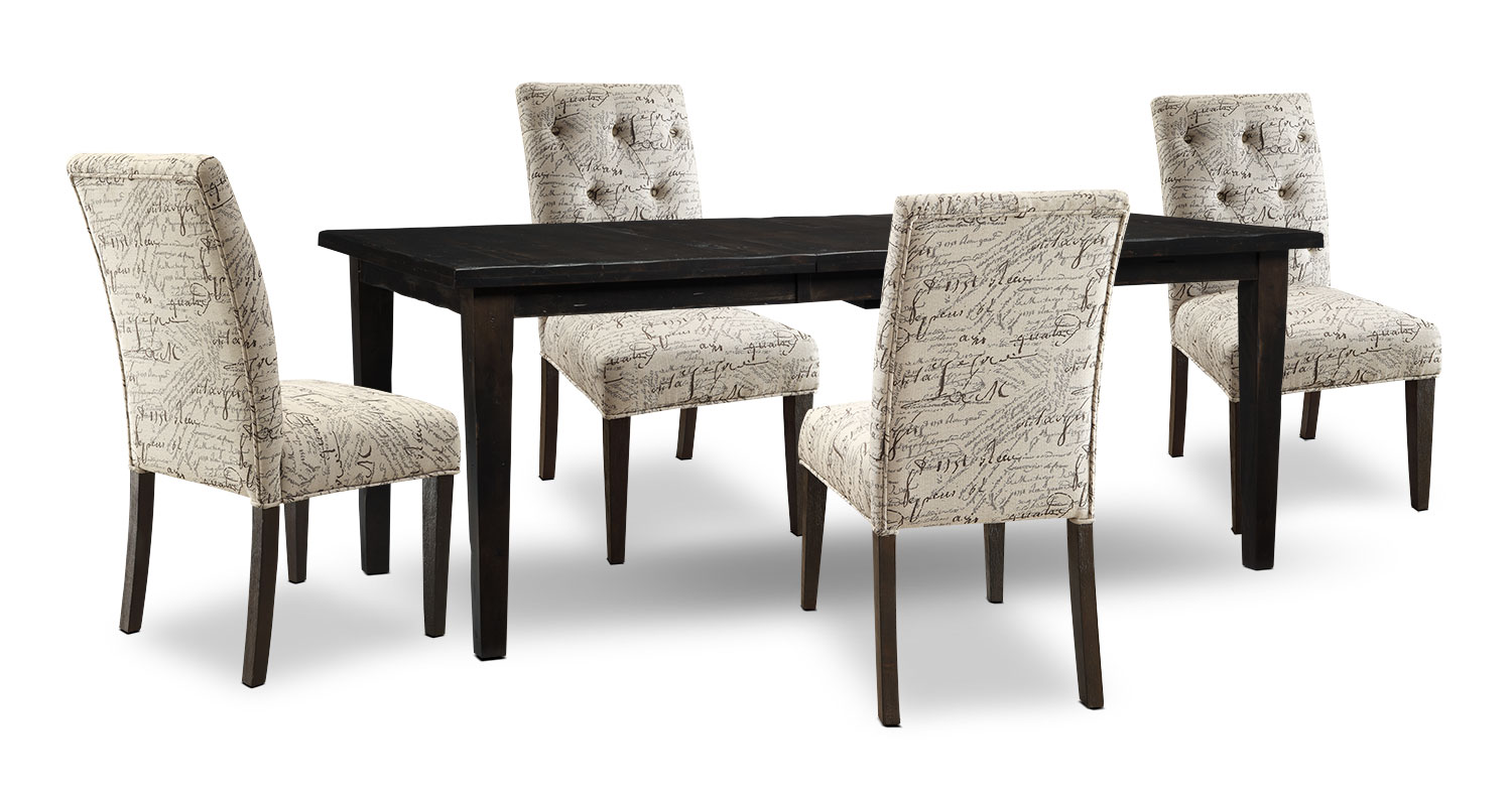 Dining Room Furniture - Bordeaux 5-Piece Dining Package with Script Chairs, Single-Leaf Table – Grey