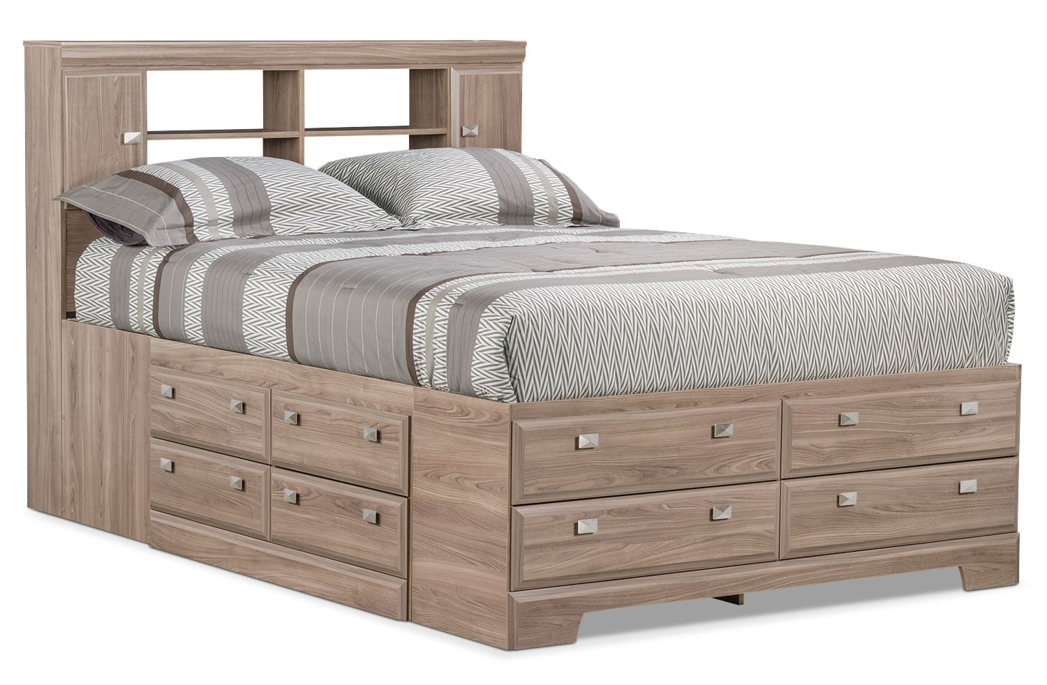 Bedroom Furniture - Yorkdale Light Queen Bookcase Storage Bed