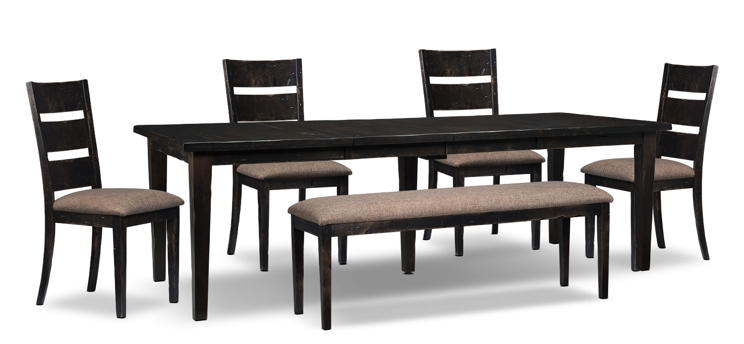 Bordeaux 6-Piece Dining Package with Double-Leaf Table – Grey