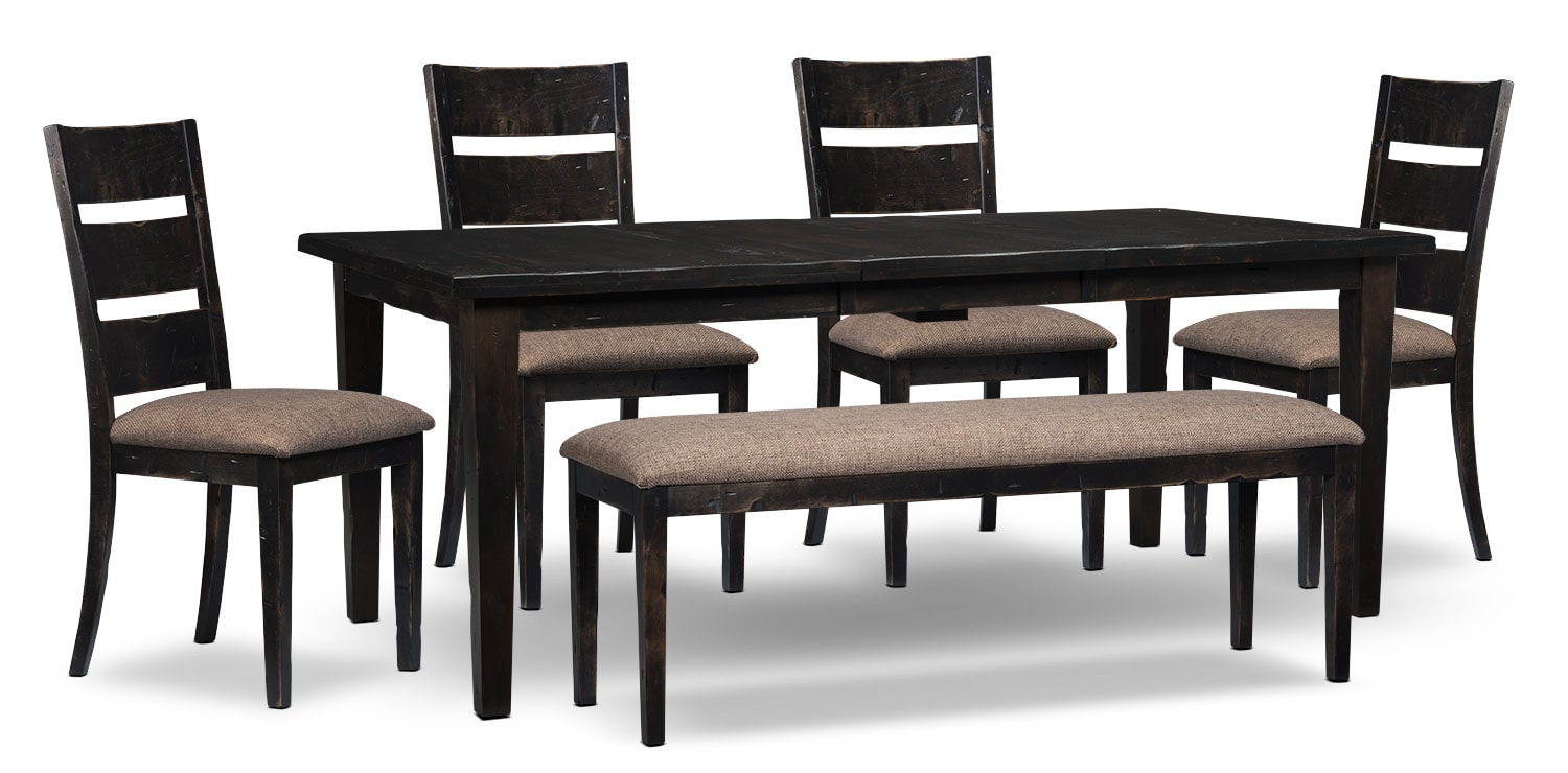Dining Room Furniture - Bordeaux 6-Piece Dining Package with Single-Leaf Table – Grey