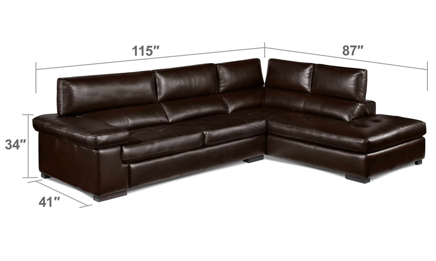 Living Room Furniture - Underwood 2-Piece Right-Facing Sectional - Espresso