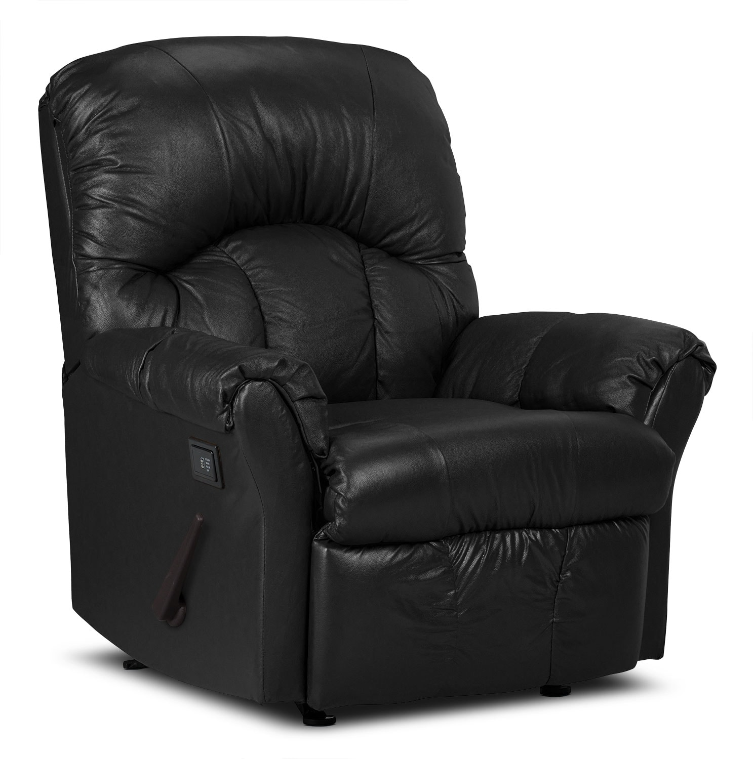 Living Room Furniture - Designed2B Recliner 6734 Genuine Leather Massage Chair - Black